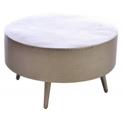 Round metal coffee table with round legs and dimpled matt finish to the metal