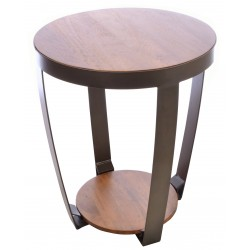 Powder coated metal lamp table with curved frame and solid mango wood top and low shelf