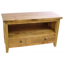 Solid mango wood tv cabinet with single shelf and two drawers made in modern style with a light oak coloured finish