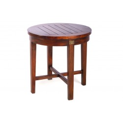 Mahogany Slatted Round Side Table