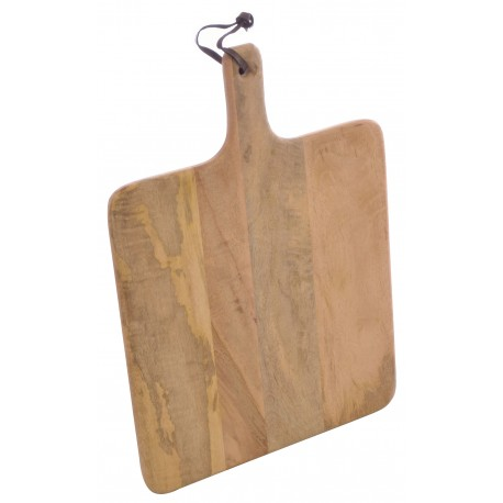 Solid Mango Wood round chopping board with a integral handle finished in a plain wood finish