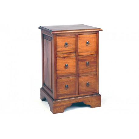 Solid Mahogany Small Chest of Drawers with drop ring handles finished in a dark wood finish