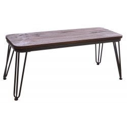Steel and Elm bench with a solid dark wood seat and steel frame and hairpin legs in a dark grey finish