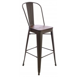 Steel and Elm tall bar chair with solid wood seat in a dark finish and slat back frame in a dark grey finish