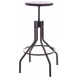 Dark Wood and Metal Adjustable Stool