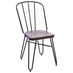 Steel and Elm dining chair with dark grey steel thin slat back ,hairpin legs and a solid dark wood seat