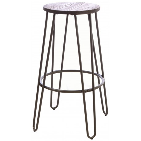 Steel and Elm round bar stool with a dark grey steel bar frame and solid round dark wood top