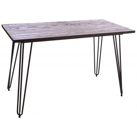 Steel and Elm small recatngular bistro table with dark grey solid steel frame and hairpin legs and a solid dark wood top