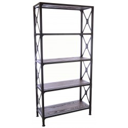 Dark Wood and Metal Open Bookcase