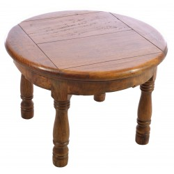 Round Coffee or Side Table made from Mango Wood with a rustic finish including wooden pegs and distressing