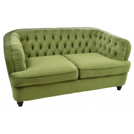 Two seat loveseat or small sofa with tuft back and arms and deep rounded continuous back with dark wood feet