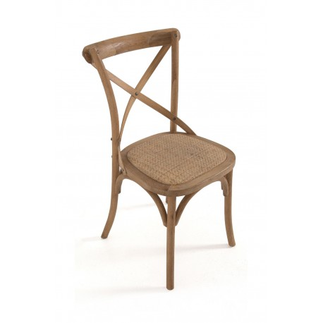 Bentwood Dining Chair with wicker seat, a classic cross design back and arched support to the legs