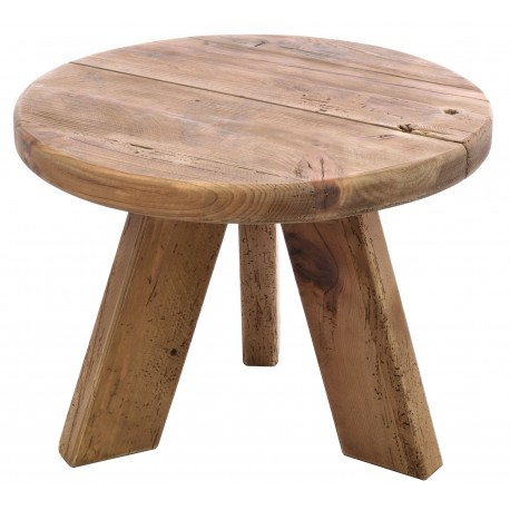 Solid wood round four legged lamp table made from reclaimed pine with aged distressing and worm holes