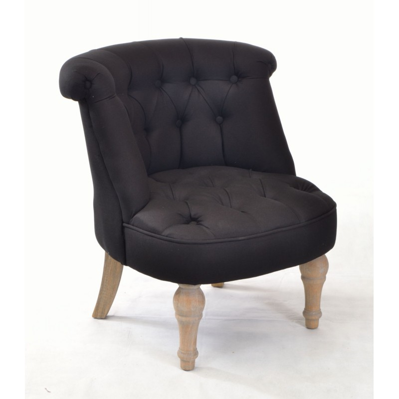 Small Room Chairs: Buy A Small Bedroom Chair In Black Linen With Solid Wood Legs