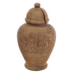 Solid wood large turned urn ornament made from reclaimed pine