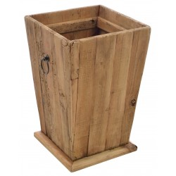 Solid wood square tapered planter with drop ring handles made from reclaimed pine with aged distressing and worm holes