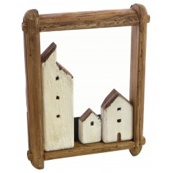 Three building 3d picture made from reclaimed pine
