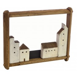 Village picture with 4 buildings in a reclaimed pine landscape frame