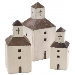 Set of 3 white square church ornaments in the style of mediterranean church made from reclaimed pine