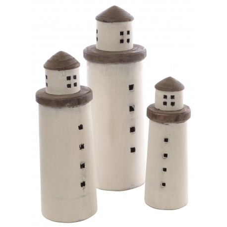 Set of 3 solid wood round tower ornaments made from reclaimed pine and painted white with plain wood decoration