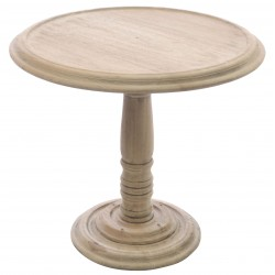 Solid wood round table with a round turned base in vintage stripped back finish