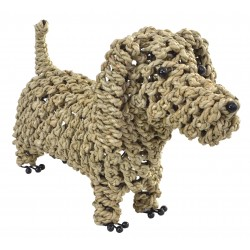 Dog ornament made from seagrass in a standing head up position
