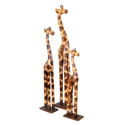 Set of 3 alibizzia wood decorative giraffes a large,medium and small giraffe each on a separate flat rectangular base