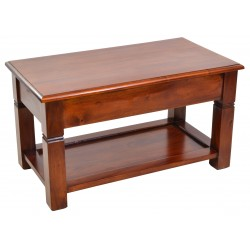Coffee table made from solid mahogany with low shelf and delicate cut out detailing