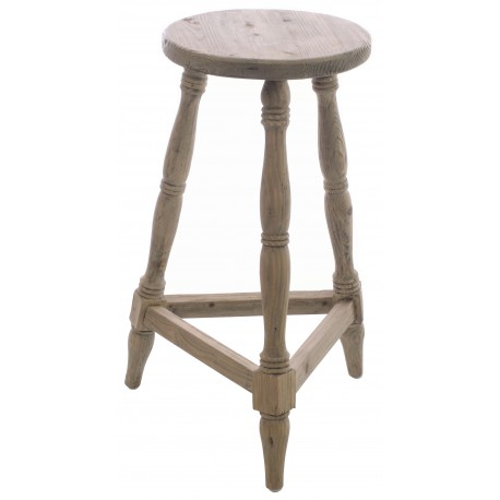 Solid wood stool with three legged base in the style of a milking stool with a vintage stripped back finish