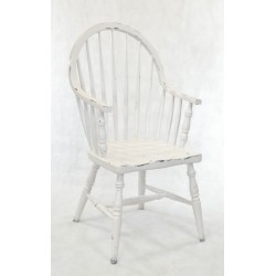 Superbe White Painted Farmhouse Kitchen Chair With Bentwood Style And Light  Distressed Paint Work