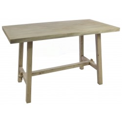 Solid wood tall table with slim braced legs fiinshed in a old style stripped back finish