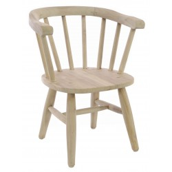 Solid wood vintage curved carver style childs chair with continuous arm back and finished with stripped back finish