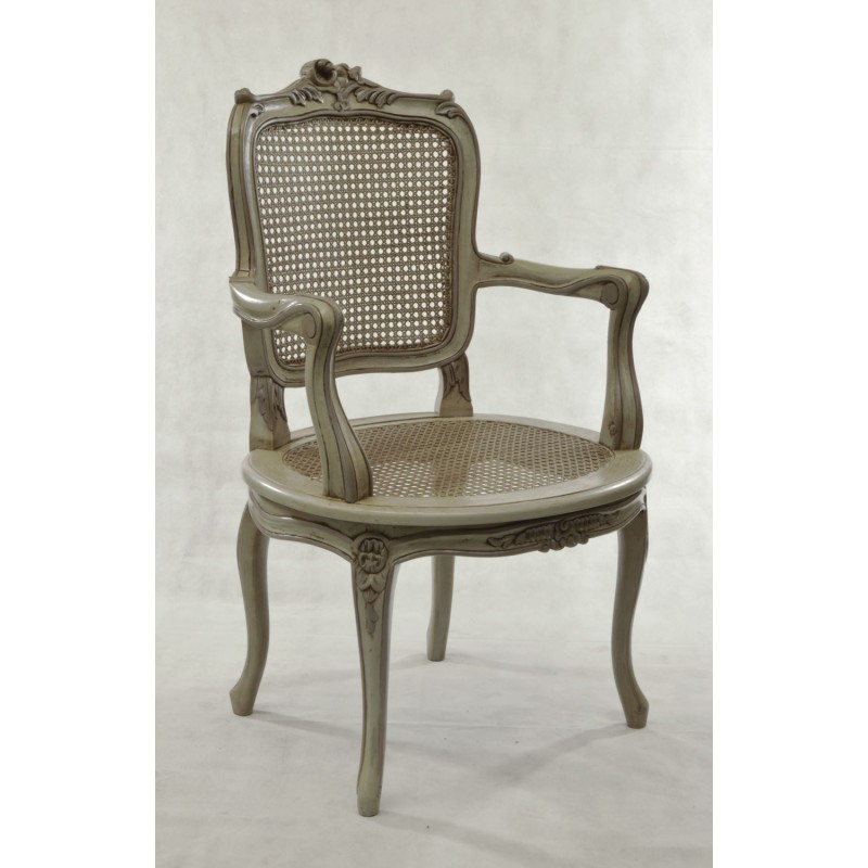 Exceptional French Style Carver Dining Chair With Rattan Seat And Back And Detailed  Carving. Loading Zoom