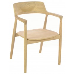 Solid wood carver chair curved design to the arms and back and solid wood seat finished in a plain wood finish