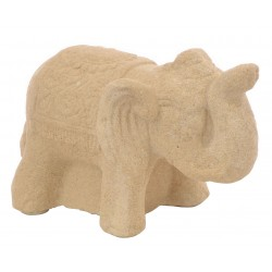 Small White Standing Stone Elephant with raised trunk and decorated back