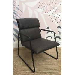 Industrial Metal and Faux Leather Armchair