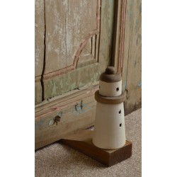 Reclaimed Pine solid wood doorstop or door jam with a round lighthouse motif