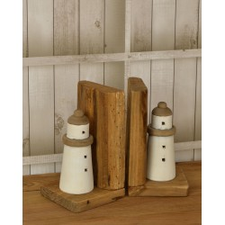 Reclaimed pine solid wood book ends with a stylised round lighthouse motif