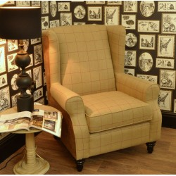 Faux Leather & Tweed Wing Back Chair
