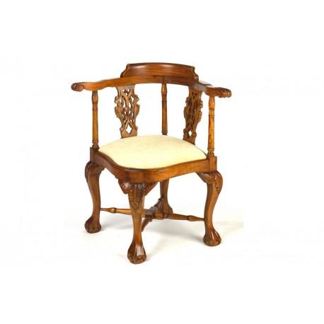 Mahogany Corner Chair with Cream Pad
