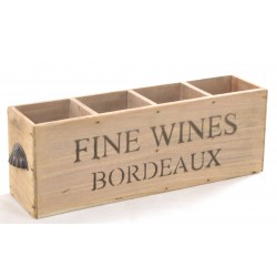 Vintage Bordeaux 4 Bottle Fine Wines Box with scalloped handles and 4 bottle compartements