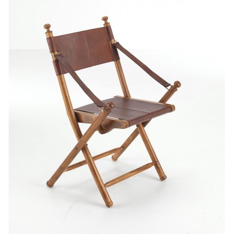 Superb Folding Wood And Leather Campaign Chair With Brass Fittings