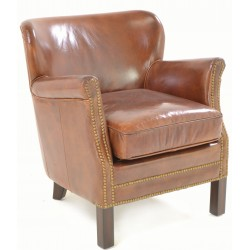Vintage Leather professor or club chair with silver coloured studding and smooth brown leather