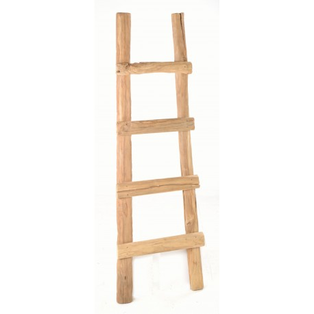 Solid teak ladder with a rustic style and finish for display