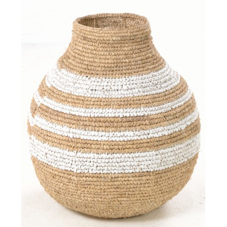 Hand woven urn or gourd shaped basket with white stripes