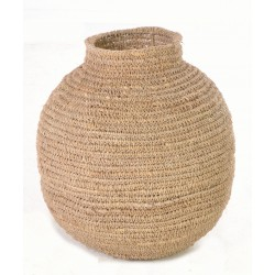 Hand woven urn or gourd shaped plain basket