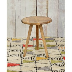 Solid wood round side table with three striaght turned legs set at an angle