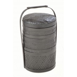 Black hand made tiffin or picnic basket set with tall carry handle
