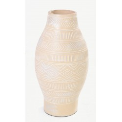 Tall cream vase with a diamond motif in a bellied shape