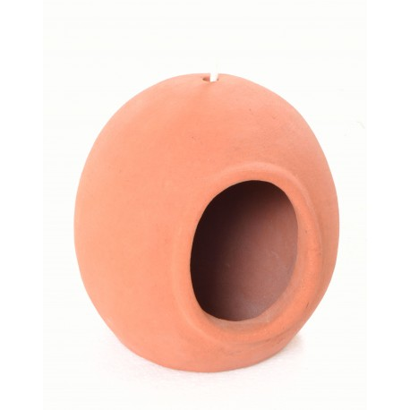 Hand made terracotta hanging bird house with a egg shape and unglazed finish
